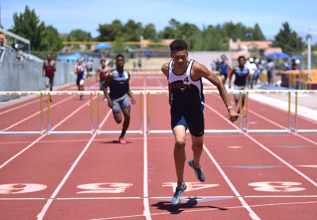 Legacy's Jamal Britt, center, wins the 300-meter hurdles at the Sunset Region meet at Del Sol High School in Las Vegas on Saturday, May 14, 2016. Martin S. Fuentes/Las Vegas Review-Journal