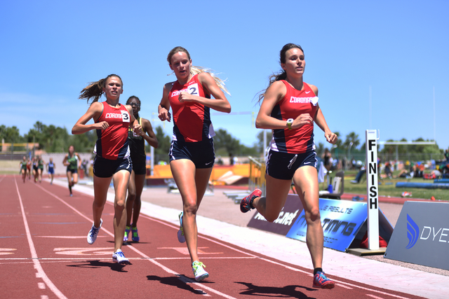 Coronado teammates win one two three from right, Catherine Sanders, Linnea Salts, Caitlin Shannon after competing in the girls 800-meter run in the Sunrise Regoin meet held at Del Sol High School  ...
