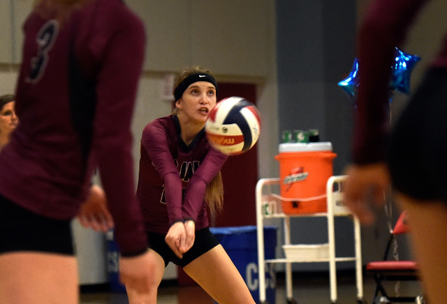Pahrump Valley's Bethany Calvert gets under the ball during a high school volleyball game against Western at Western High School Thursday, Oct. 27, 2016, in Las Vegas. Pahrump Valley won the best  ...