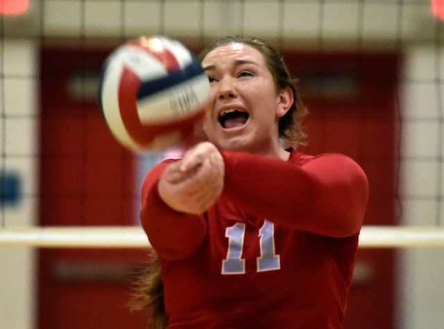 Western's Nikki Riggs hits the ball against Pahrump Valley during a high school volleyball game at Western High School,  Thursday, Oct. 27, 2016, in Las Vegas. Pahrump Valley won the best of five  ...