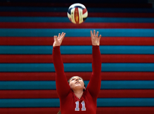 Western's Nikki Riggs sets the ball against Pahrump Valley during a high school volleyball game at Western High School, Thursday, Oct. 27, 2016, in Las Vegas. Pahrump Valley won the best of five g ...