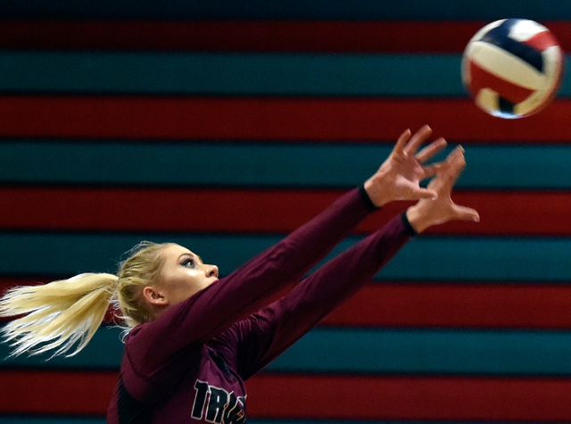 Pahrump Valley's Alexis Trieb hits the ball against Western during a high school volleyball game at Western High School, Thursday, Oct. 27, 2016, in Las Vegas. Pahrump Valley won the best of five  ...