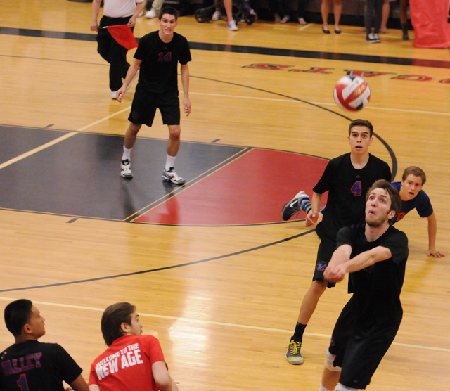 Valley's Jack Heavey (17) saves the ball during the Sunrise Region boys volleyball championship match against Las Vegas High on Friday. Heavey had 33 kills, but Las Vegas won, 3-2. (Erik Verduzco/ ...