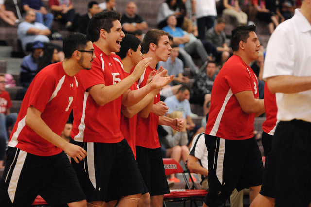 Las Vegas' players react to a play during the Sunrise Region boys volleyball championship match against Valley on Friday. Las Vegas won 3-2. (Erik Verduzco/Las Vegas Review-Journal)