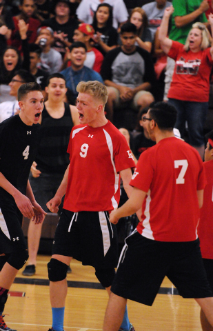 Las Vegas'  Evan Kinard (4), Chris Kampshoff (9) and Guillermo Gonzalez (7) react to a play during the Sunrise Region boys volleyball championship on Friday against Valley. Las Vegas won, 3-2. (Er ...