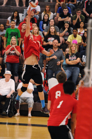 Las Vegas'  Chris Kampshoff (9) goes up for a kill during the Sunrise Region boys volleyball championship match against Valley on Friday. Kampshoff had 21 kills and 11 digs as Las Vegas won, 3-2.  ...
