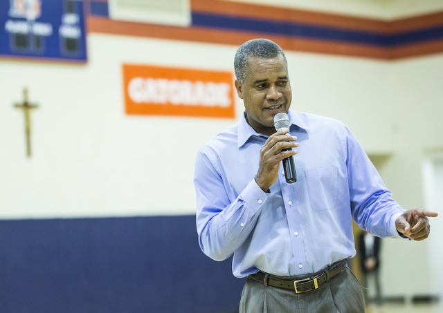 Bishop Gorman girls basketball coach Kevin Nixon talks to student athletes expected to sign college letters of intent during the fall on Wednesday, Nov. 9, 2016, at Bishop Gorman High School, in L ...