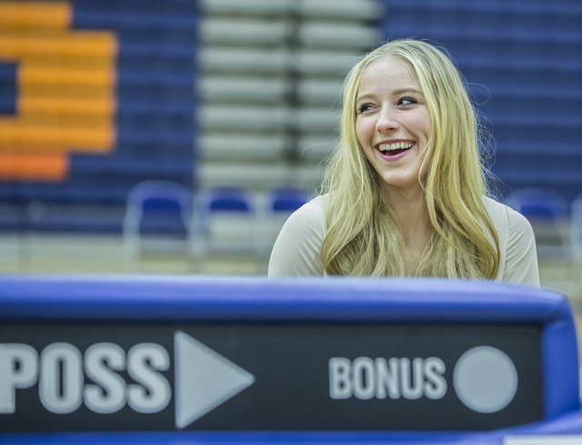 Bishop Gorman's Abbey Archambault sits with fellow student athletes expected to sign college letters of intent during the fall on Wednesday, Nov. 9, 2016, at Bishop Gorman High School, in Las Vega ...