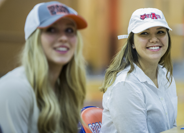 Bishop Gorman's Leah Glaser, right, sits with fellow student athletes expected to sign college letters of intent during the fall on Wednesday, Nov. 9, 2016, at Bishop Gorman High School, in Las Ve ...