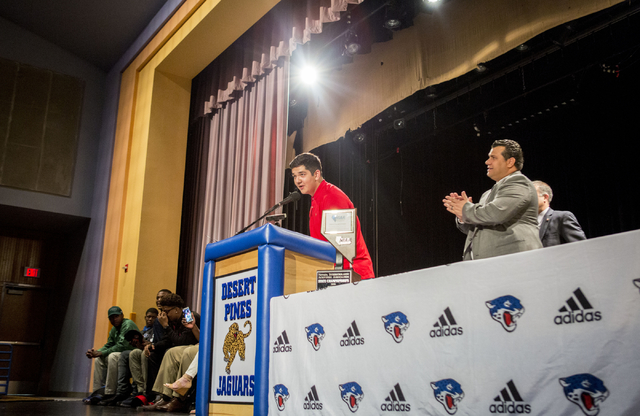 Senior Edgar Burrola announces his decision to play college football for University of Arizona, Desert Pines High School, Las Vegas, February. 1, 2017.  (Elizabeth Brumley/Las Vegas Review-Journal ...