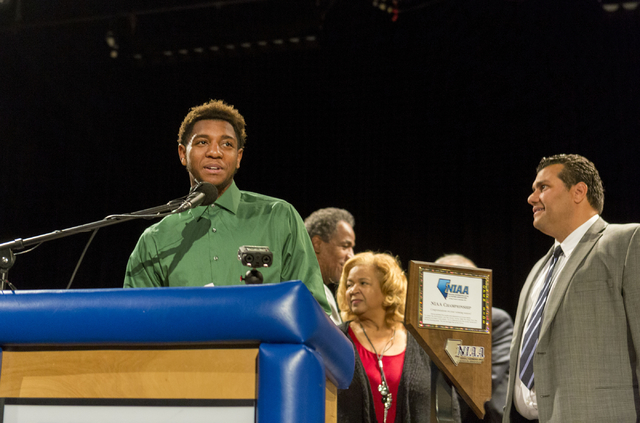 Senior Jordan Simons expresses his gratefulness to coaches, family and friends before signing to play football for Adams State University, Desert Pines High School, Las Vegas, February. 1, 2017.   ...