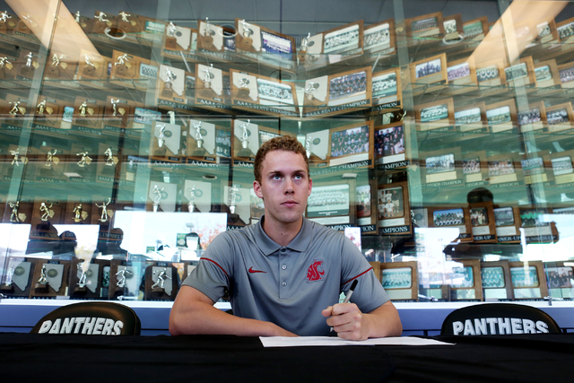 Palo Verde senior Dylan Orlando signs his paperwork for playing baseball at Washington State University, Wednesday, Nov. 9, 2016, at Palo Verde High School in Las Vegas. Elizabeth Page Brumley/Las ...