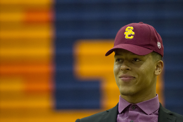 Bishop Gorman's Bubba Bolden, who committed to attending University of Southern California during Signing Day at Bishop Gorman High School on Wednesday, Feb. 1, 2017, in Las Vegas. (Erik Verduzco/ ...