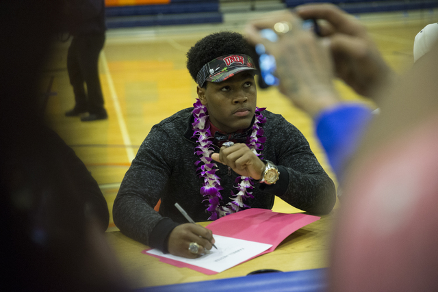 Bishop Gorman's Farrell Hester, who committed to attending UNLV during Signing Day at Bishop Gorman High School on Wednesday, Feb. 1, 2017, in Las Vegas. (Erik Verduzco/Las Vegas Review-Journal) @ ...