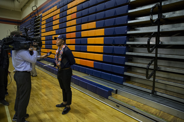 Bishop Gorman's Austin Arnold, who committed to attending University of Nevada, Reno is interviewed during Signing Day at Bishop Gorman High School on Wednesday, Feb. 1, 2017, in Las Vegas. (Erik  ...
