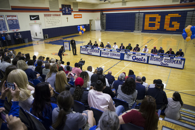 Bishop Gorman athletes during Signing Day at Bishop Gorman High School on Wednesday, Feb. 1, 2017, in Las Vegas. (Erik Verduzco/Las Vegas Review-Journal) @Erik_Verduzco