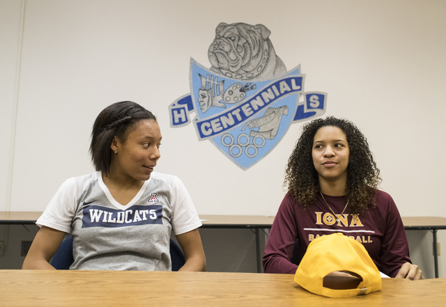 Samantha Thomas, left, and Jayden Eggleston wait to sign their letters of intent at Centennial High School in Las Vegas on Wednesday, Nov. 9, 2016. Loren Townsley/Las Vegas Review-Journal Follow @ ...