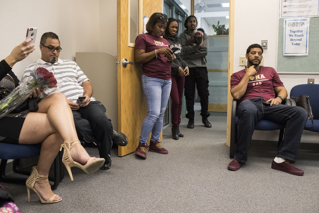Family members wait for signing day to begin at Centennial High School in Las Vegas on Wednesday, Nov. 9, 2016. Loren Townsley/Las Vegas Review-Journal Follow @lorentownsley