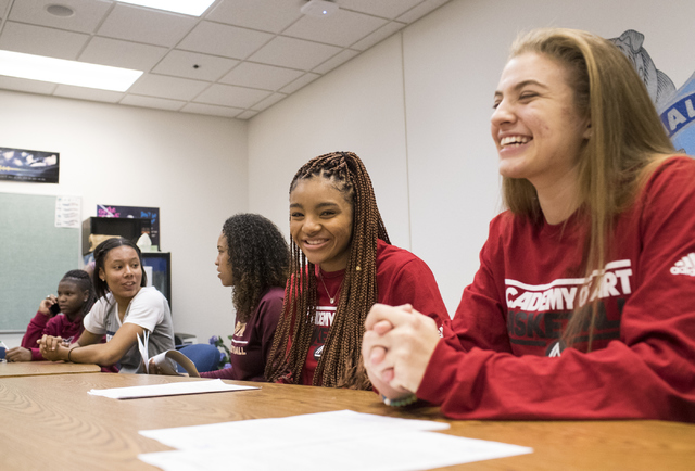 Shyla Miller, from right, and Megan Jefferson wait to sign their letters of intent at Centennial High School in Las Vegas on Wednesday, Nov. 9, 2016. Jefferson and Miller both will attend Academy  ...