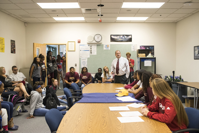 Centennial High School Principal Trent M. Day, center, speaks to the girl's basketball players on signing day in Las Vegas on Wednesday, Nov. 9, 2016. Loren Townsley/Las Vegas Review-Journal Follo ...