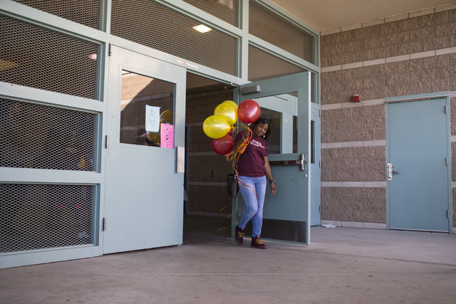 Camisha Gathright, mother of Jayden Eggleston, leaves signing day at Centennial High School in Las Vegas on Wednesday, Nov. 9, 2016. Her daughter will attend Iona College. Loren Townsley/Las Vegas ...