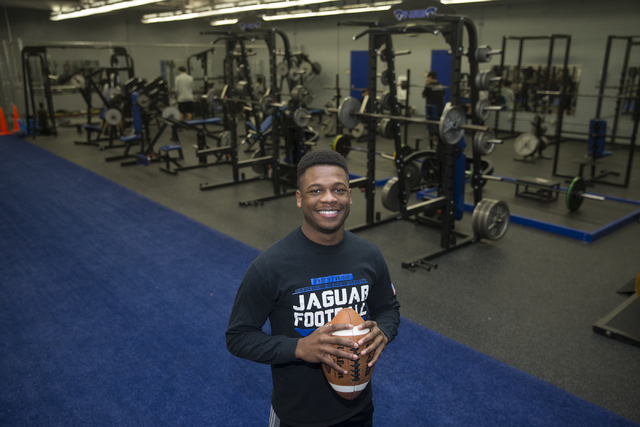 Desert Pines running back Isaiah Morris at Desert Pines High School on Wednesday, Jan. 25, 2017, in Las Vegas. Morris is set to advance to college football National Signing Day. Erik Verduzco/Las  ...