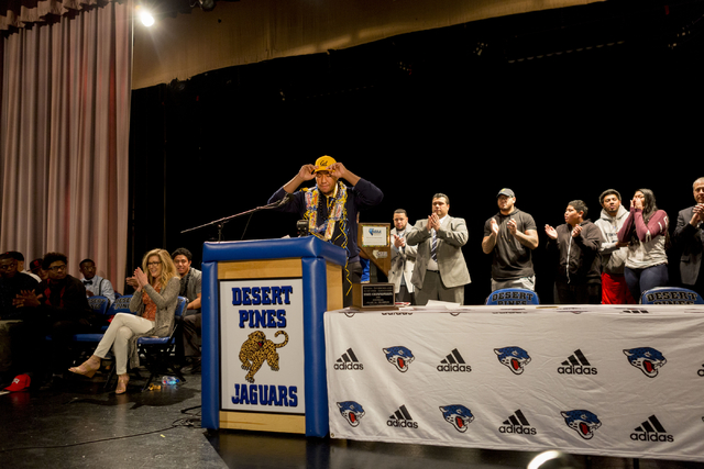 Senior Poutasi Poutasi announces his decision to play college football for University of California, Desert Pines High School, Las Vegas, February. 1, 2017.  (Elizabeth Brumley/Las Vegas Review-Jo ...