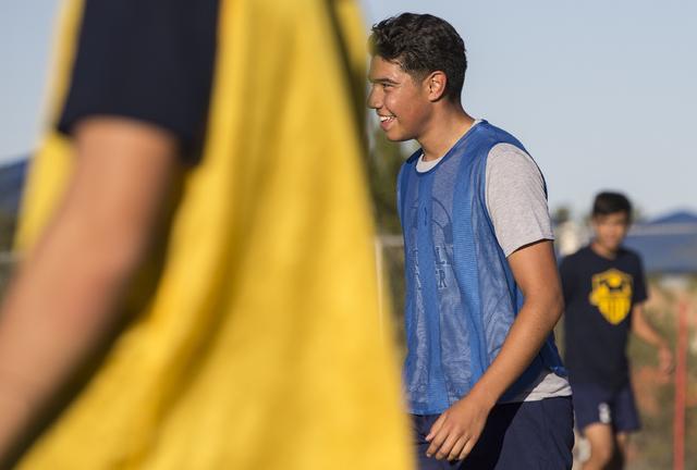 Spring Valley soccer player Jose Lopez (7) jokes around with teammates during practice on Wednesday, Nov. 9, 2016, at Spring Valley High School, in Las Vegas. Benjamin Hager/Las Vegas Review-Journal