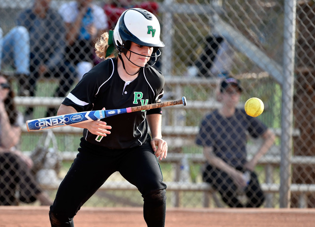 Palo Verde Jordan Menke bunts the ball against Centennial during a high school softball game at Palo Verde High School on Tuesday, March 10, 2015, in Las Vegas. (David Becker/Las Vegas Review-Journal)