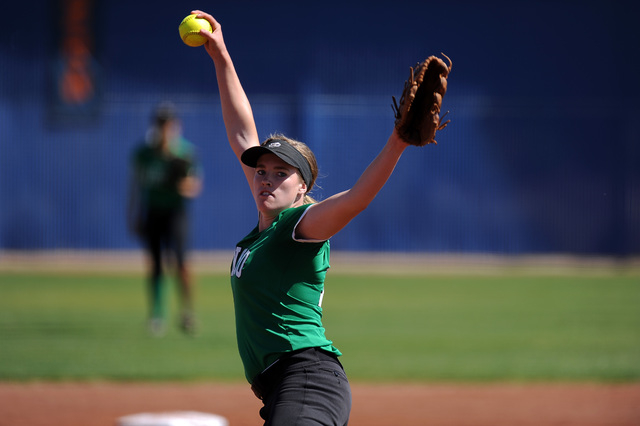Rancho starting pitcher Samantha Pochop delivers against Bishop Gorman in the first inning of their prep softball game at Bishop Gorman High School in Las Vegas Saturday March 28, 2015. Rancho def ...