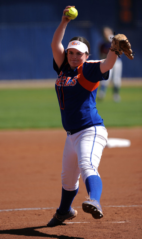 Bishop Gorman starting pitcher Samantha Stanfill delivers against Rancho in the first inning of their prep softball game at Bishop Gorman High School in Las Vegas Saturday March 28, 2015. Rancho d ...