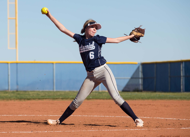 Centennial High School's Cheyenne Cudahy pitches against Coronado on Wednesday. Cudahy threw a five-hitter and struck out four in a 15-1 win. (Samantha Clemens/Las Vegas Review-Journal)