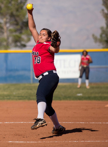 Coronado High School's Jillian James pitches against Centennial on Wednesday. (Samantha Clemens/Las Vegas Review-Journal)