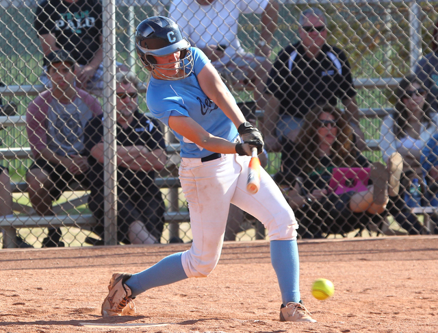 Centennial shortstop Heather Bowen hit .558 with 12 home runs and 54 RBIs on her way to earning the Review-Journal's softball player of the year honors. (Chase Stevens/Las Vegas Review-Journal)