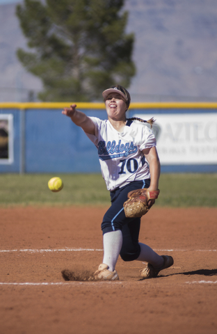 Centennial High School's Maddie Jones (10) pitches against Palo Verde High School during their softball game played at Centennial's softball field in Las Vegas on Friday, April 17, 2015. (Martin S ...