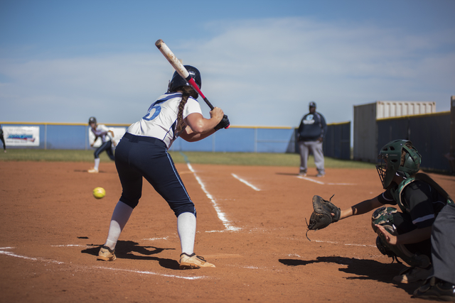 Centennial High School's Stephanie Day (5) takes a ball against Palo Verde High School during their softball game played at Centennial's softball field in Las Vegas on Friday, April 17, 2015. (Mar ...