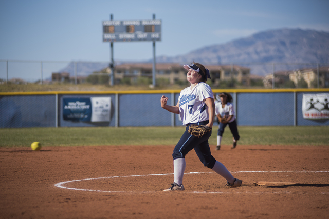 Centennial High School's Jennifer Cerrone (7) pitches against Palo Verde High School during their softball game played at Centennial's softball field in Las Vegas on Friday, April 17, 2015. (Marti ...