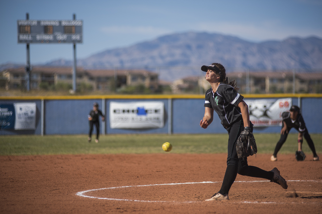 Palo Verde High School's Taylor Askland (3) pitches to Centennial High School during their softball game played at Centennial's softball field in Las Vegas on Friday, April 17, 2015. (Martin S. Fu ...