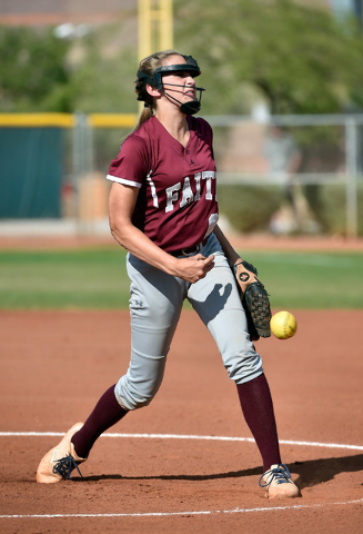 Faith Lutheran pitcher Makena Martin delivers a pitch against Sierra Vista during a high school softball game at Faith Lutheran High School on Monday, April 20, 2015, in Las Vegas.  (David Becker/ ...