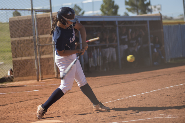 Centennial's Brianna Benoit (17) swings at a pitch against Arbor View during their softball game played at Centennial's softball field in Las Vegas on Tuesday, April 28, 2015.  Centennial won, 5-1 ...