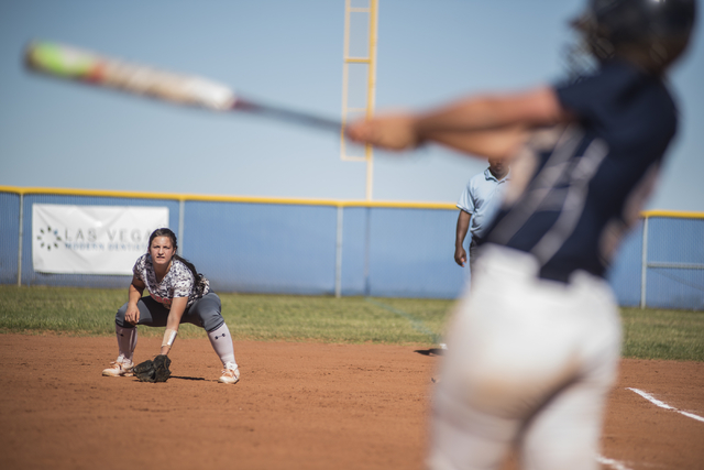 Arbor View's Kellie Anderson (5) stays alert at first base against Centennial during their softball game played at Centennial's softball field in Las Vegas on Tuesday, April 28, 2015. Centennial w ...