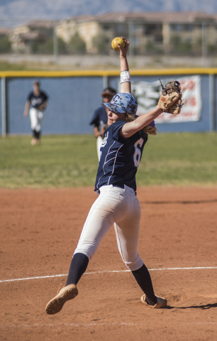 Centennial's Cheyenne Cudahy (6) pitches to Arbor View during their softball game played at Centennial's softball field in Las Vegas on Tuesday, April 28, 2015. Centennial won, 5-1.  (Martin S. Fu ...