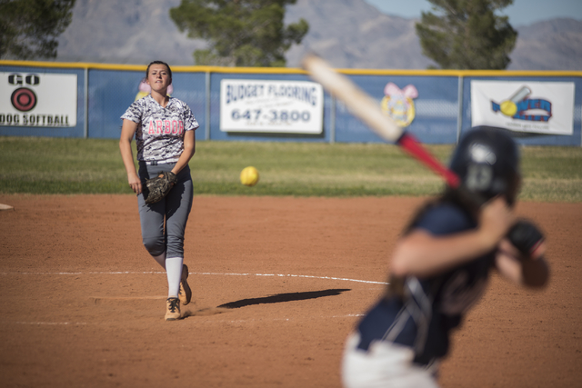 Arbor View's Taylor Thomas (19) pitches to Centennial during their softball game played at Centennial's softball field in Las Vegas on Tuesday, April 28, 2015. Centennial won, 5-1.  (Martin S. Fue ...