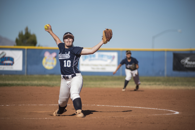 Centennial's Maddie Jones (10) pitches against Arbor View during their softball game played at Centennial's softball field in Las Vegas on Tuesday, April 28, 2015. Centennial won, 5-1. (Martin S.  ...