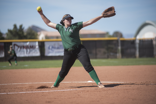 Palo Verde's Kelsea Sweeney (22) pitches against Shadow Ridge during a softball game played at Palo Verde softball field in Las Vegas on Wednesday, April 29, 2015. Palo Verde won, 4-1. (Martin S.  ...