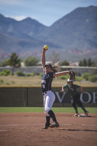 Shadow Ridge's Shelbi Denman (14) pitches against Palo Verde during a softball game played at Palo Verde softball field in Las Vegas on Wednesday, April 29, 2015. Palo Verde won, 4-1. (Martin S. F ...