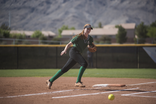Palo Verde's Emily Guthrie (8) runs down a ground ball against Shadow Ridge during a softball game played at Palo Verde softball field in Las Vegas on Wednesday, April 29, 2015. Palo Verde won, 4- ...