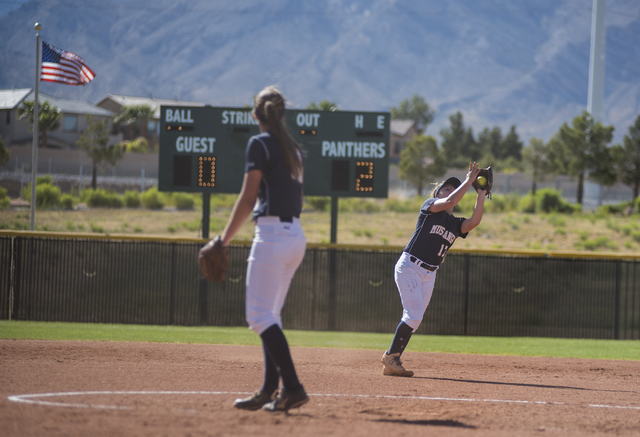 Shadow Ridge's Alisha Schultz (17) catches a fly ball against Palo Verde during a softball game played at Palo Verde softball field in Las Vegas on Wednesday, April 29, 2015. Palo Verde won, 4-1.  ...