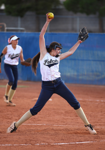 Foothill's Sarah Penksa fires a pitch against Coronado on Wednesday. The Falcons won, 8-7. (Chase Stevens/Las Vegas Review-Journal)