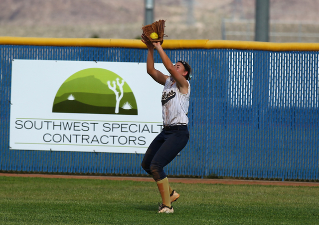 Foothill's Kelsey McFarland catches a fly ball off the bat of Coronado's Lauren Buck on Wednesday. The Falcons won, 8-7. (Chase Stevens/Las Vegas Review-Journal)